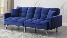 Acme 57305 Ivy bronx mecene blue velvet tufted fabric adjustable sofa futon bed with arms