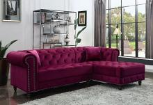 Acme 57315 2 pc Brayden studio adnelis red velvet fabric tufted design sectional sofa with chaise