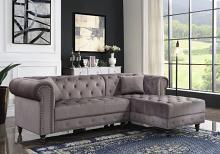 Acme 57325 2 pc Brayden studio adnelis gray velvet fabric tufted design sectional sofa with chaise