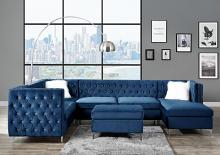 Acme 57340 7 pc Rosdorf park Bois blue velvet fabric modular sectional sofa tufted backs
