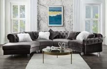 Acme 57355 4 pc Waldorf park ninagold gray velvet like fabric curved half circle tufted sectional sofa with chaise
