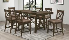 Homelegance 5757-36 7 pc Canora grey Levittown brown finish wood counter height dining table set