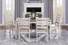 Homelegance 5769W-60 7 pc creswell two tone greyish white and brown finish wood dining table set