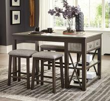 Homelegance 5772-36-5PC 5 pc Canora grey Elias two tone grey and gunmetal finish wood counter height dining table set with shelf