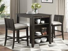 Homelegance 5773DC-32 3 pc Canora grey daye dark cherry finish wood counter height dining table set with shelf