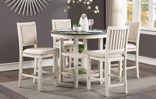 """Homelegance 5800WH-36 5 pc Canora grey asher brown and antique white finish wood 42"""" round counter height dining table set"""