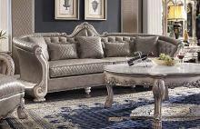 "Acme 58170 Astoria Grand mckenzie dresden vintage bone white finish wood carved accents 113"" sofa"