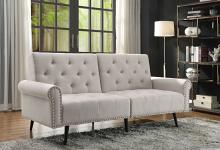 Acme 58250 A&J homes studio Eiroa beige fabric adjustable sofa futon bed with arms