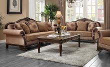 Acme 58265-66 Astoria Grand Chateau de ville tan and brown fabric espresso finish wood sofa and love seat set