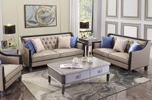 Acme 58815-16 Astoria Grand House Beatrice tan faux leather charcoal finish wood sofa and love seat set