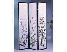 3 panel flower floral design room divider