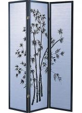 Asia Direct 591 3 panel black finish wood bamboo design rice paper room divider shoji screen