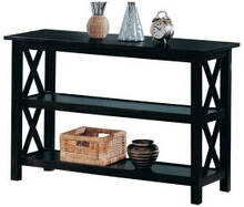 Espresso finish wood double cross design sofa entry side table