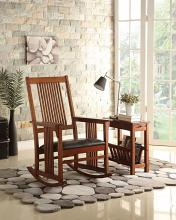 Acme 59214 Kloris ii tobacco finish wood straight line slatted mission design back rocking chair