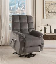 Acme 59263 Ipompea gray velvet fabric electric lift recliner chair with massage