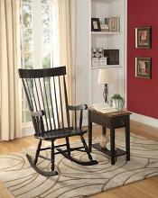 Acme 59297 Red barrel studio mariettan arlo black finish wood curved spindled design back rocking chair