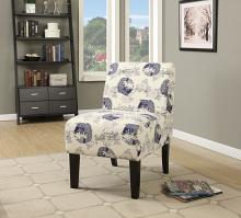 Acme 59439 Ollano ii koi fish floral pattern fabric accent chair with wood legs