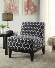Acme 59501 Brilliant life Hinte rounded diamond dark blue pattern fabric accent chair with wood legs