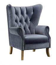 Acme 59517 Kelly clarkson home Jayla adonis gray velvet fabric wing back accent chair