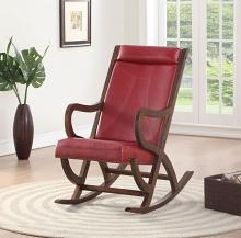 Acme 59536 Canora grey bethany triton walnut finish wood and red faux leather upholstered rocking chair