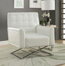 Acme 59784 Orren ellis rayborn rafael white faux leather accent chair with chrome cross legs