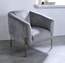 Acme 59790 Everly quinn fino carlson grey velvet fabric accent chair with gold tone legs