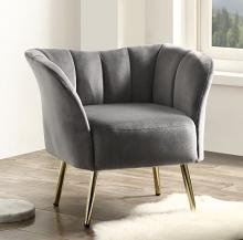 Acme 59797 Everly quinn huguenot reese gray fabric accent chair with golden metal legs