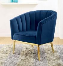 Acme 59815 Everly quinn kester colla blue velvet fabric accent chair with gold metal legs
