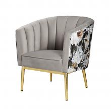 Acme 59816 Everly quinn kester colla grey velvet and floral pattern fabric accent chair with gold metal legs