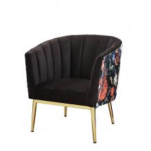 Acme 59817 Everly quinn kester colla black velvet and floral pattern fabric accent chair with gold metal legs