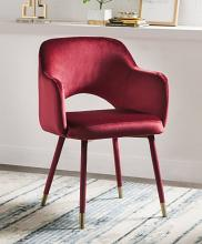 Acme 59850 Everly quinn mcclinton applewood bourdeaux red fabric accent chair with golden tipped legs