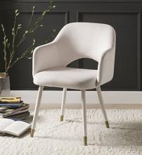 Acme 59856 Everly quinn mcclinton applewood beige fabric accent chair with golden tipped legs
