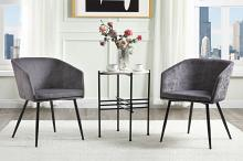 Acme 59875 3 pc Corrigan studio celia grey velvet fabric accent chairs with black legs and side table