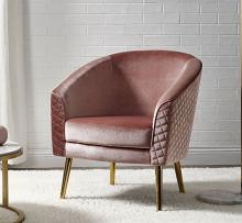 Acme 59885 Everly quinn waymire velour fabric barrel back accent chair with gold metal legs