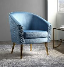 Acme 59887 Everly quinn waymire blue fabric barrel back accent chair with gold metal legs