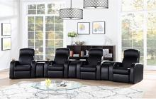 600001-02 7 pc Kirkland home theater cyrus black top grain leather modular theater seating sectional