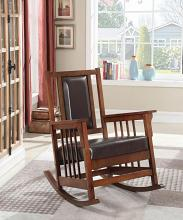 600058 Madison park belmont dark brown faux leather tobacco finish legs mission style rocking chair