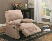 600264 Casual tan microfiber fabric overstuffed recliner chair