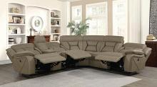 600380 4 pc Latitude run mowgli higgins tan coated microfiber power motion sectional sofa with recliners on the ends