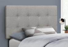 BED - TWIN SIZE / GREY LINEN HEADBOARD ONLY
