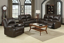 600971 2 pc boston collection brown leather like vinyl sofa with recliner ends and love seat with recliner ends