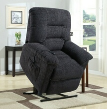 Coaster 601015 Mabel collection dark grey chenille upholstered power lift recliner chair