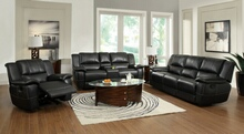 3 pc lee collection black bonded leather match reclining sofa with drop down arm, love seat with console and recliner