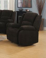 601463 Casual chocolate chenille fabric overstuffed glider recliner chair
