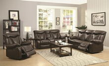 Coaster 601711-12 2 pc zimmerman collection transitional style dark brown padded faux leather upholstered standard motion sofa and love seat with recliner ends