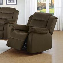 601883 Casual chocolate microvelvet fabric overstuffed glider recliner chair