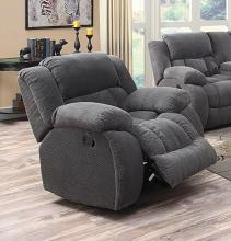 601923 Casual charcoal textured fleece fabric overstuffed glider recliner chair