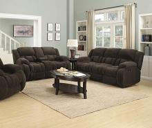 601924-25 2 pc Red barrel studio bolander weissman brown textured chenille fabric reclining sofa and love seat set