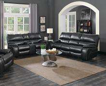 601934-35 2 pc Bomberger willemse black leatherette reclining sofa and love seat with recliner ends