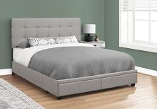 BED - QUEEN SIZE / GREY LINEN WITH 2 STORAGE DRAWERS
